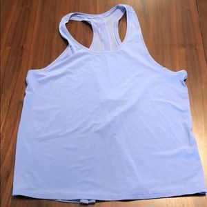 Periwinkle tank with open lower back